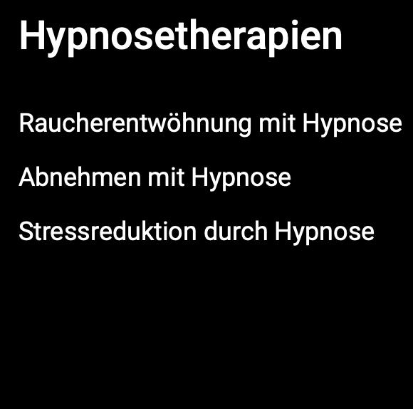 Bildschirmfoto Hypnosetherapien